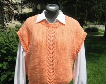 Handknit Melon Vest  with Lace Design for Ladies