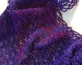 Recyled Hand Dyed Purple Crocheted Shawl