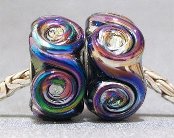 Metallic Handmade Lampwork Beads Glass Big Hole Euro Charm Beads Peacock Rosette Pair