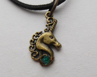 Unicorn Pendant -- Swarovski Crystal, Antique Brass Unicorn, Wire Wrapped Bead, Choice of colors