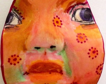 clay face partial  jewelry craft supplies round handmade cabochon mosaic doll tile fairy goddess spirit polymer findings  zentangle