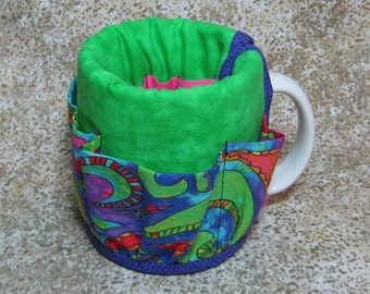Coffee Caddy Desk Sewing Organizer Cozy For Mug or Goblet Bright Green Swirls Purple Pink Crap Caddy
