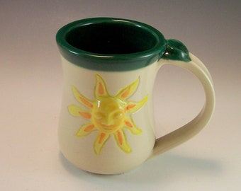 Coffee Mug/Ceramic Mug/ Pottery Sunshine Cup/Pottery Sun Face Mug