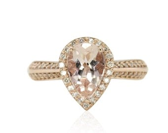 Rose Gold Engagement Ring with Pear Morganite, Diamond Halo and Knife Edge Shank - Florence Collection- LS3650