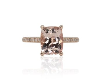 Morganite Engagement Ring - 8x10mm Cushion cut Morganite Cathedral Solitaire Engagement Ring with Diamonds in 14k Rose Gold - LS3846