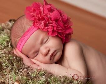 Shocking Pink Flower Headband - Shabby frayed chiffon and lace flower headband - Girls Hair Band - Headband