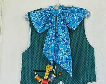 Boys Mad Hatter Costume Vest Tie & Pants in Greens Turqouise Halloween Costume