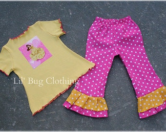 Custom Boutique Clothing Disney Princess Belle Yellow Knit Top and Pink White Polka Dot Pant Girl