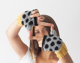 Hand knit grey fingerless gloves with black dots and yellow trim,texting gloves,polka dot gloves,half finger gloves,mittens