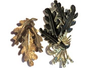 Vintage Brooch Pins, Set of 2 Autumn Fall Wear, Hat Accent Pins, Scarf Accent Pins