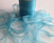Vintage Mokuba Knitting Tape Ribbon 4 YARDS Organdy Ribbon #25 Pool Blue For Gift Wrapping and Ribbon Art Crafts Sewing  Sheer Shiny Blue