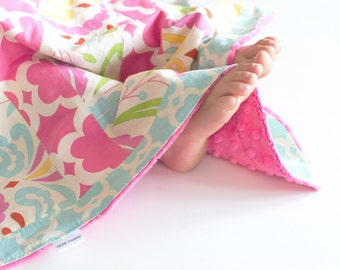 Small Patchwork Blanket for Baby Girl, Sujata with Tarika Blue and Fuchsia