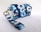 Cell Phone Wallet - Large Fabric Travel Wallet - Wristlet Key Fob Wrist Strap iPhone 6 Plus Galaxy S4 S5 - Blue Navy Denim Aqua Floral Poppy