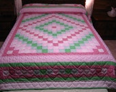 Quilt, Around The World Quilt,  Hand Quilted Quilt,  Pink and Green Quilt, Queen Size Quilt, Fiber Art, Quilting