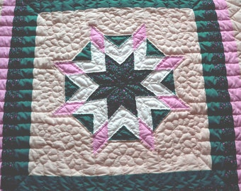 Handmade Quilt, Hand Quilted Blazing Star Wallhanging, Lap Quilt, Handmade Lap Quilt, Handmade, Fiber Art, Quilting