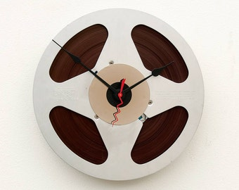 clock made from a recycled Aluminum magnetic tape reel