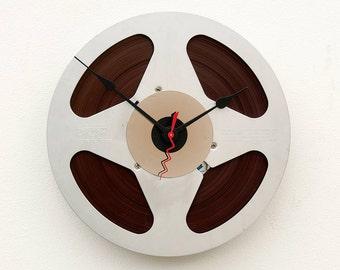Aluminum magnetic tape reel clock, analog retro clock, upcycled reel to reel clock, repurposed tape reel clock, steampunk clock