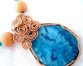Blue Jasper Pendant and Blue Copper Beaded Wire Wrapped Handmade Necklace