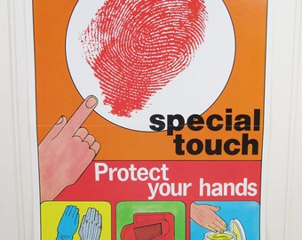Vintage Safety Poster Work Workplace Ohio Protect Your Hands Keep That Special Touch Fingerprint
