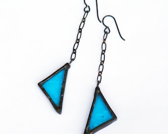 STAINED GLASS EARRINGS- Triangle Earrings