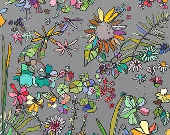 Le Petite Jardin Floral Canvas Art Print by Jennifer Mercede 24x24