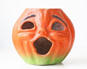"Vintage Halloween Pumpkin, Paper Mâché Jack O Lantern, Large 7"" Tall"