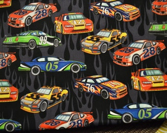 """Fabric """"Hit the Gas"""" Race Cars Remnant 100% Cotton"""