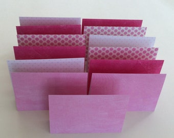 Mini Cards 13 Pink Mix - blank for thank you notes 2 3/4 x 4 1/4