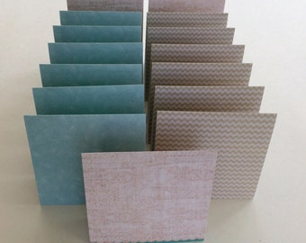 Mini Cards 15 Natural Blue Zig Zag - 3 inches x 3 inches