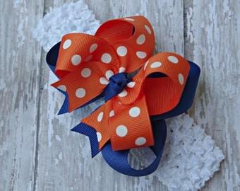Baby Headband Gators Inspired Blue and Orange Florida Baby Headband Gators Inspired Baby Bow Florida Gators Inspired Headband