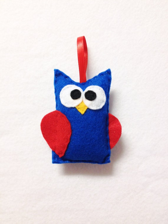 Owl Ornament, Christmas Ornament, Felt Ornament - Americus the Owl, Blue and Red