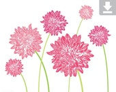 Art Print, Flower, Dahlia, Garden, Bloom, Printable, Digital File, Instant Download, Botanical, Stems, Green, Pink, Light, Dark, 8x10