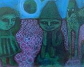 Field of Schemes - original acrylic painting on cradled wood panel