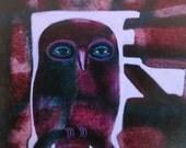 Owl Drive- acrylic painting on cradled wood panel