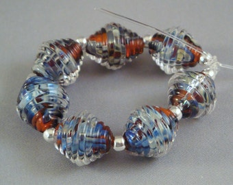 Transparent Orange Earthy Metallic Blue Set of Ribbed Bicone Lampwork Glass Beads for Jewelry by Solaris Beads 2393