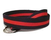 Canvas Belt Red Blue D-Ring Belt / Striped Belt Navy and Red - for teens men women Big & Tall and Plus Size