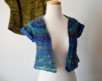 TEASEL Bolero Jacket Handknti Handspun Earth And Water Vest. Boho, Hippie, Handmade. Blue, White, Green, Earth from Space Colors. Soft Knit.
