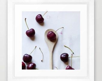 food photograph red white minimal-Cherry On A Spoon fine art photograph- kitchen decor- kitchen wall art- modern foodie photo