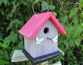 Primitive Birdhouse White Painted Rusty Butterflies Violet and Pink