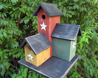 Primitive Condo Birdhouse Mustard Country Red Sage Green Three Nesting Boxes