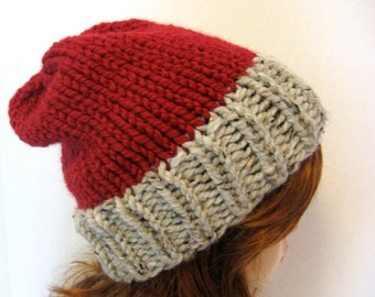 Slouchy Chunky Knit Hat / ASPEN / Cranberry and Grey Marble