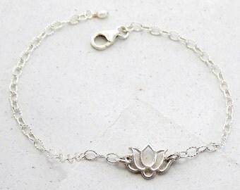 Delicate Lotus Bracelet | Layering Bracelet | Yoga Jewelry | Stacking Bracelet | Everyday Jewelry | Silver or Gold