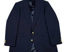 Vintage Haggar Imperial Gentlemans Fit Sport Coat with Gold Buttons Mens Size 44L