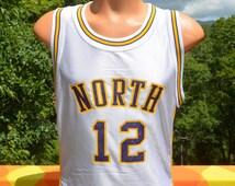vintage 80s basketball jersey NORTH school uniform varsity 12 gold purple stripe russell Medium 40 lakers white