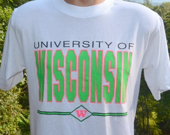 vintage 80s t-shirt university WISCONSIN neon badgers soft thin tee Medium Large white