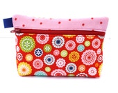 Essential Oil Bag holds 5 10ml oils Essential oil pouch red happy circles print