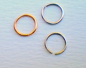 Argentium Silver/Gold Filled Nose Ring 8mm Recycled Silver 20 or 21 Gauge 0.7mm or 0.8mm Free UK Shipping