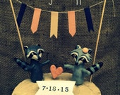 Raccoons in Love Wedding cake topper with for your Rustic Wedding