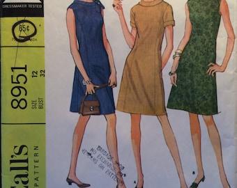 "Vintage 1967 McCall's Dress Pattern #8951 Size 12 Bust 32"" - NC - Vintage McCall's Pattern / 60s McCall's / Sewing Pattern / 60s Pattern"