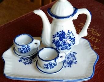Miniature Blue and White China Tea Set
